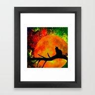 Framed Art Print featuring Black Cat by Saundra Myles