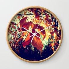 Orange Leafs Wall Clock