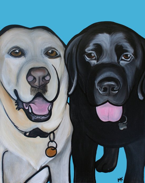 Indie & Daisy the labs Art Print
