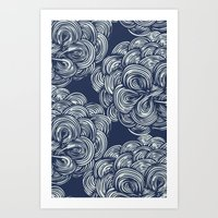 clouds - navy Art Print
