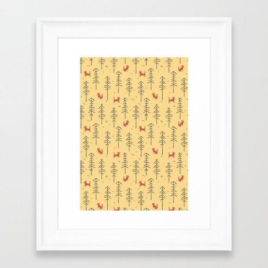 Fox hiding in the forest Framed Art Print