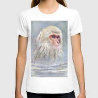 Snow Monkey Watercolor Cute Animal Portrait Womens Fitted Tee White SMALL