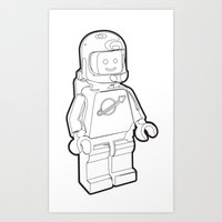 Vintage Lego Spaceman Wireframe Minifig Art Print