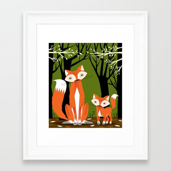 Two Fine Foxes Framed Art Print