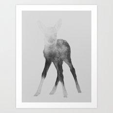 Deer Fawn (black & white version) Art Print