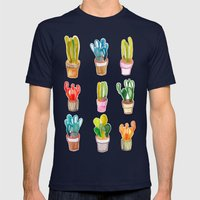 Cactus collection Mens Fitted Tee Navy SMALL