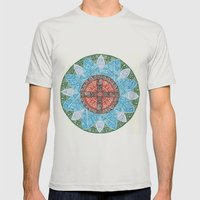 Stained Flower Mens Fitted Tee Silver SMALL