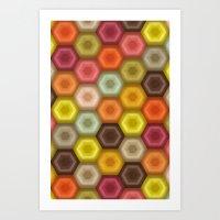 crochet honeycomb retro Art Print