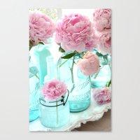 Shabby Cottage Pink Peonies Vintage Mason Jars Canvas Print
