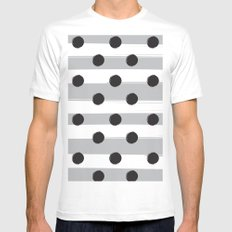 BLACK DOTS MEET WHITE STRIPES White Mens Fitted Tee SMALL