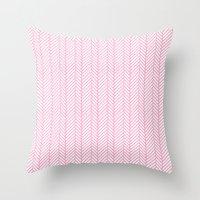 Herringbone Pink Throw Pillow