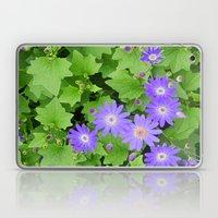 Purple Flowers On Leafy … Laptop & iPad Skin