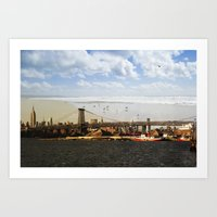 A HELICOPTER IN HER SKY, A SEAGULL ON HIS BRIDGE Art Print