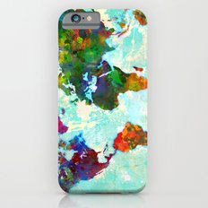 Abstract Watercolor World Map iPhone 6 Slim Case