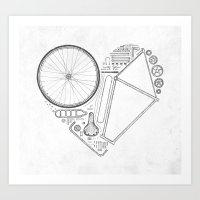 Love Bike (Grey) Art Print