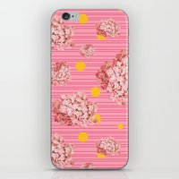 hydrangea spots and stripes iPhone & iPod Skin
