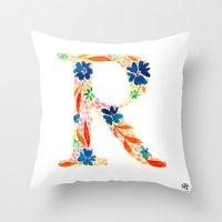 monograms - R Throw Pillow