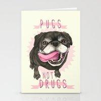 Black Pug dog - Pugs Not Drugs Stationery Cards