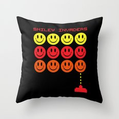 Smile Invaders Gaming Qu… Throw Pillow