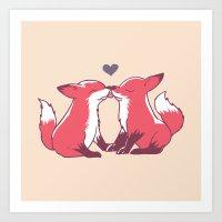 Fox Kisses Art Print