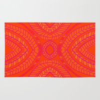 Orange Leaves Pattern Rug