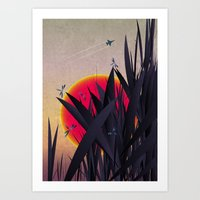Red Heat With Dragonflie… Art Print