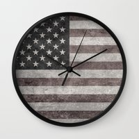 American flag - retro style desaturated look Wall Clock