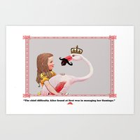 Alice And Her Flamingo's… Art Print