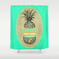 Sliced pineapple Shower Curtain