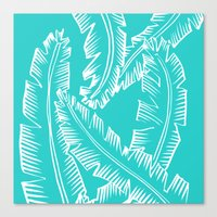 Modern Palm Leaves - Turquoise Blue and White Canvas Print