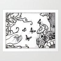 Releasing Butterflies Art Print