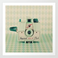 Retro Green Camera  Art Print
