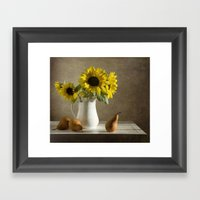 Sunflowers and pears Framed Art Print