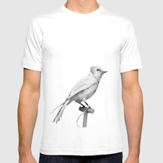 Albino Blue Jay - Square Format Natural History Bird Portrait Mens Fitted Tee SMALL White