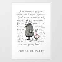 A Few Parisians: Marché de Passy by David Cessac Art Print