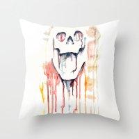 Skull Drips  Throw Pillow