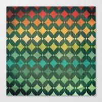 Vintage Rainbow Pattern Canvas Print