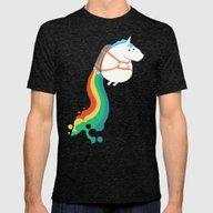 Fat Unicorn On Rainbow J… Mens Fitted Tee Tri-Black SMALL