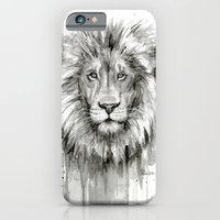 Lion Watercolor Black and White Animal Portrait iPhone 6 Slim Case