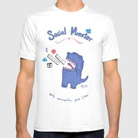 Social Monster Blue Mens Fitted Tee White SMALL