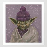 Christmas Yoda (fiolet) Art Print