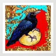 Blue Raven- Crow & Egg R… Art Print