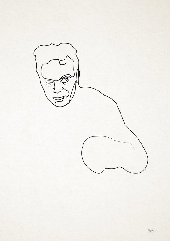 One line Marcel Cerdan Art Print