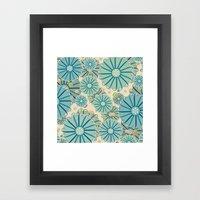 Retro Crazy Flowers Framed Art Print