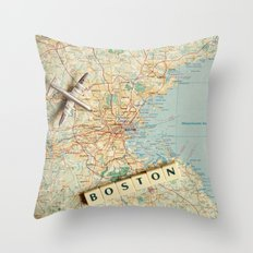 Let's Fly To Boston Throw Pillow