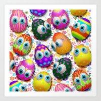 Cute Easter Eggs Cartoon… Art Print