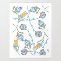 fleurs anciennes Art Print