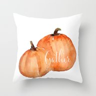 Throw Pillow featuring Orange Pumpkins Watercol… by Craftberrybush