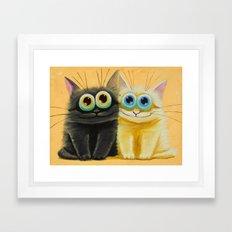 cat play Framed Art Print