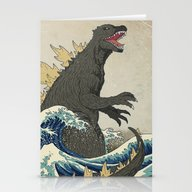 Stationery Cards featuring The Great Godzilla Off K… by DinoMike
